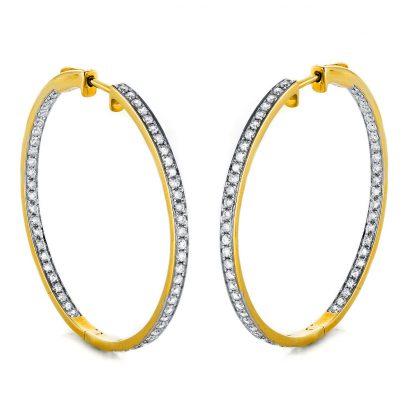 18 kt yellow gold hoops & huggies with 110 diamonds 2E730G8-1