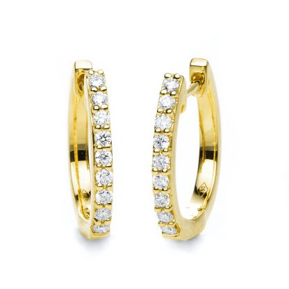 18 kt yellow gold hoops & huggies with 18 diamonds 2B860G8-6