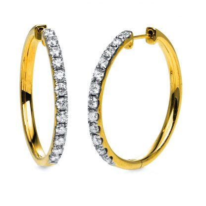 18 kt yellow gold hoops & huggies with 24 diamonds 2D509G8-4