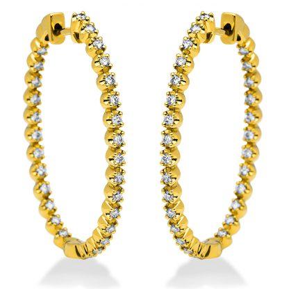 18 kt yellow gold hoops & huggies with 56 diamonds 2I192G8-2