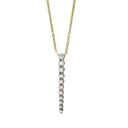 18 kt yellow gold necklace with 11 diamonds 4E550G8-1