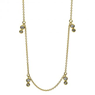 18 kt yellow gold necklace with 14 diamonds 4D498G8-2