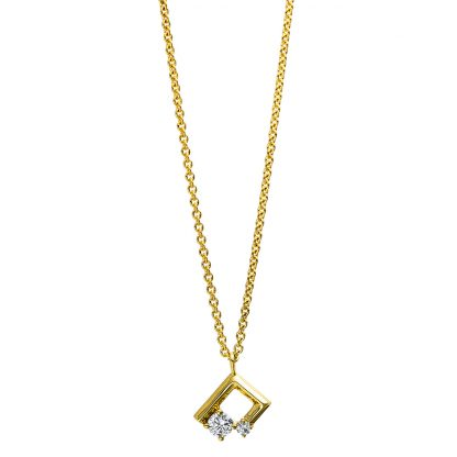 18 kt yellow gold necklace with 2 diamonds 4E663G8-1
