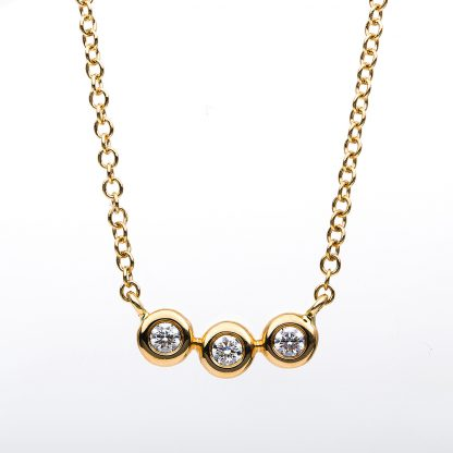 18 kt yellow gold necklace with 3 diamonds 4B183G8-1