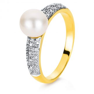 18 kt yellow gold pearl with 16 diamonds