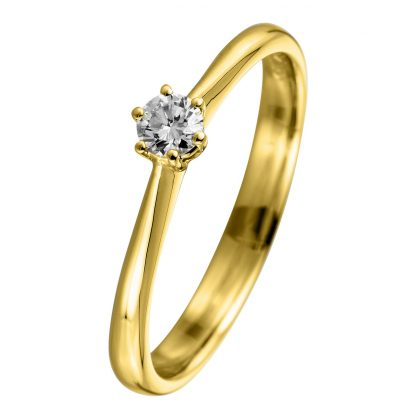 18 kt yellow gold solitaire with 1 diamond 1A732G856-1