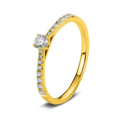 18 kt yellow gold solitaire with side stones with 17 diamonds 1A423G854-2
