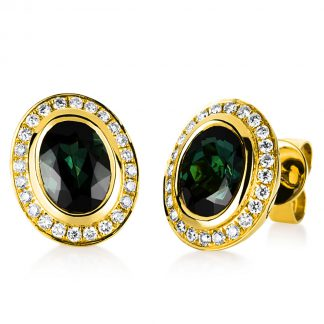 18 kt yellow gold studs with 48 diamonds