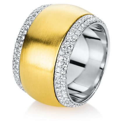 18 kt yellow gold / white gold rotatable ring with 200 diamonds 1A719GW856-1