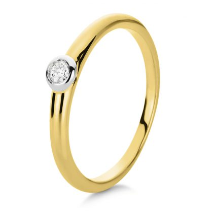 18 kt yellow gold / white gold solitaire with 1 diamond 1B855GW856-1