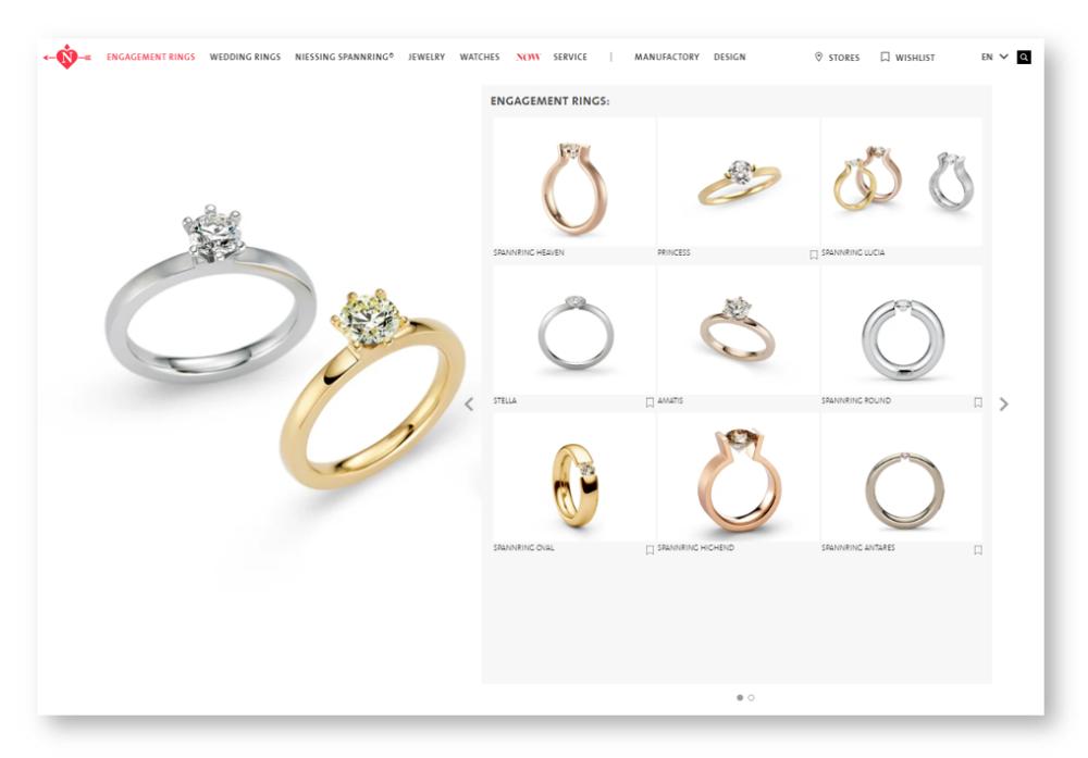 Niessing eljegyzési gyűrű tervező
