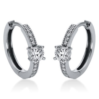 14 kt white gold hoops & huggies with 26 diamonds 2H866W4-1