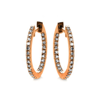 18 kt red gold hoops & huggies with 50 diamonds 2D540R8-3