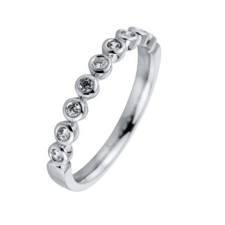 18 kt white gold multi stone with 9 diamonds S000214