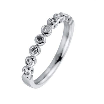 18 kt white gold multi stone with 9 diamonds S000214