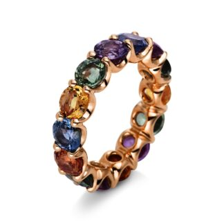 Yellow gold ring with sapphires O6-44116 01