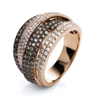 18 kt vörös arany több köves gyűrű 247 gyémánttal 1F277R854-2