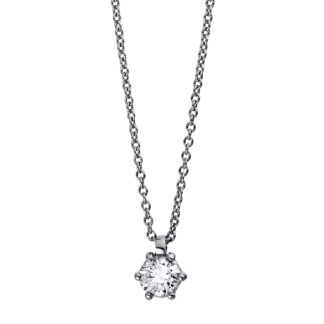 18 kt white gold necklace with 1 diamond 4D332W8-12