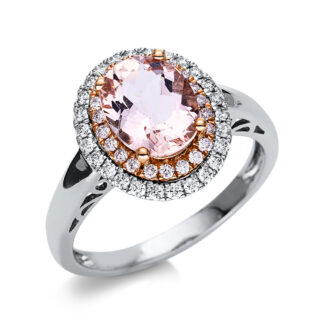 14 kt  color stone with 48 diamonds