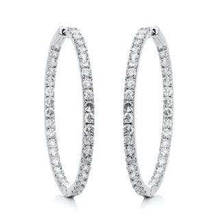 14 kt fehérarany karika és huggie 76 gyémánttal 2D902W4-1