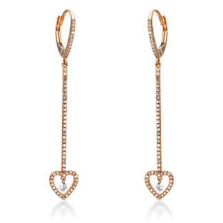 14 kt red gold earrings with 120 diamonds 2I935R4-1