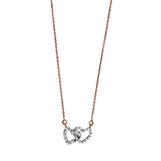 14 kt red gold / white gold necklace with 25 diamonds 4F231RW4-1