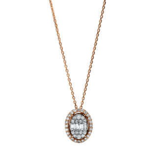 14 kt red gold / white gold necklace with 43 diamonds 4F245RW4-1