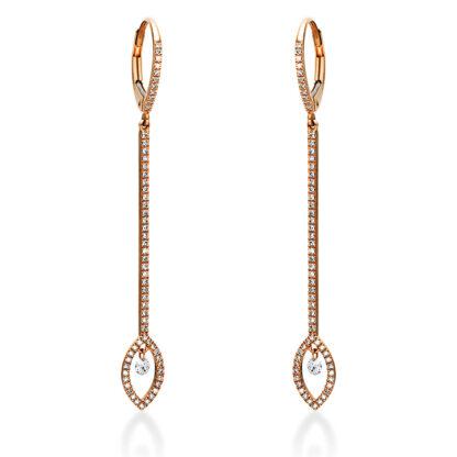 14 kt vörös arany fülbevaló 124 gyémánttal 2I936R4-1