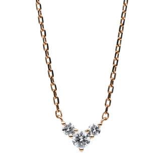 14 kt vörös arany nyaklánc 3 gyémánttal 4B524R4-1