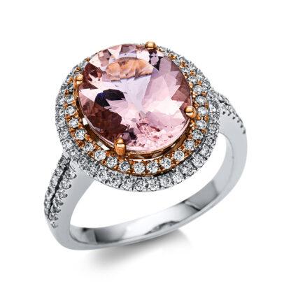 14 kt vörös arany színes drágakő 96 gyémánttal