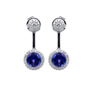 18 kt fehérarany fülbevaló 68 gyémánttal