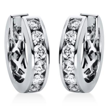 18 kt fehérarany karika és huggie 12 gyémánttal 2H659W8-1