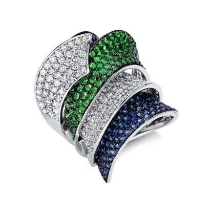 18 kt fehérarany színes drágakő 136 gyémánttal