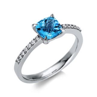 18 kt fehérarany színes drágakő 14 gyémánttal