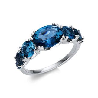 18 kt fehérarany színes drágakő 18 gyémánttal
