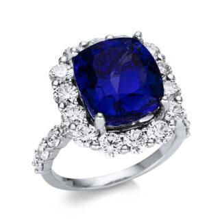 18 kt fehérarany színes drágakő 22 gyémánttal