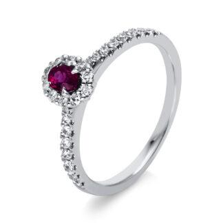 18 kt fehérarany színes drágakő 26 gyémánttal
