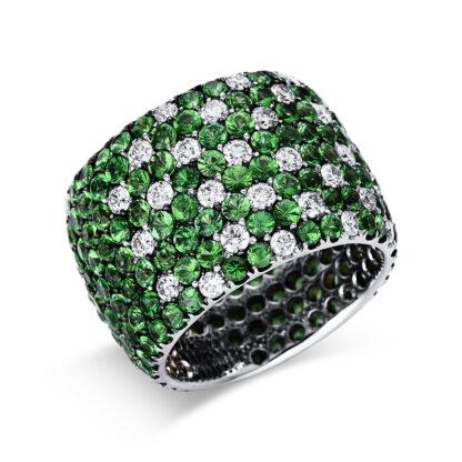 18 kt fehérarany színes drágakő 29 gyémánttal