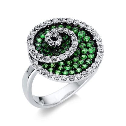 18 kt fehérarany színes drágakő 49 gyémánttal