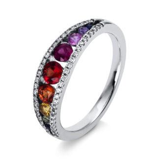 18 kt fehérarany színes drágakő 50 gyémánttal