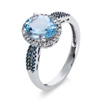 18 kt fehérarany színes drágakő 56 gyémánttal