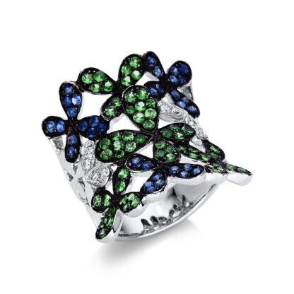 18 kt fehérarany színes drágakő 8 gyémánttal