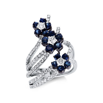 18 kt fehérarany színes drágakő 86 gyémánttal