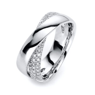 18 kt fehérarany több köves gyűrű 44 gyémánttal 1H364W854-2
