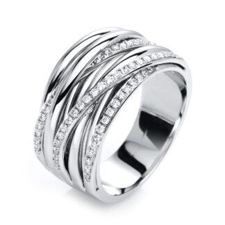 18 kt fehérarany több köves gyűrű 56 gyémánttal 1G420W854-1