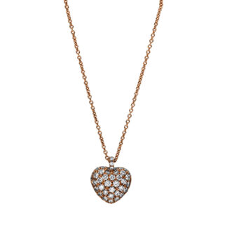 18 kt red gold necklace with 52 diamonds 4F230R8-1