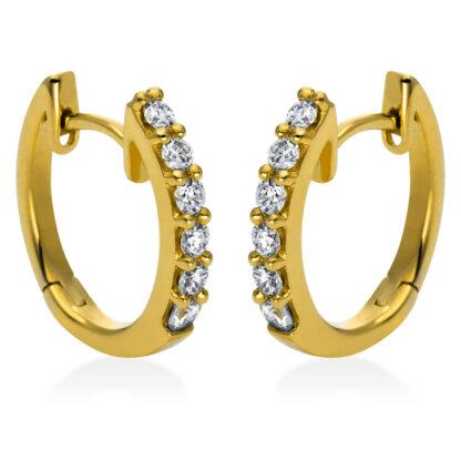 18 kt V arany karika és huggie 12 gyémánttal 2E289G8-1