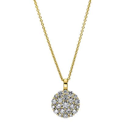 18 kt sárga arany nyaklánc 22 gyémánttal 4F465G8-1