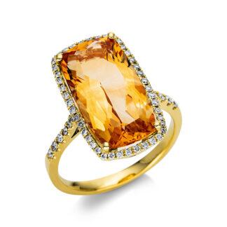 18 kt sárga arany színes drágakő 56 gyémánttal