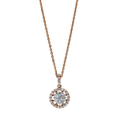 18 kt vörös arany / fehérarany nyaklánc 31 gyémánttal 4F256RW8-1